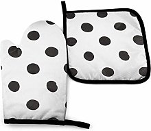 Asa Dutt528251 Tile Black Dots Oven Mitts and