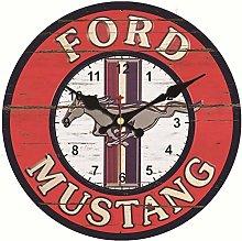 Asbjxny Vintage Wall Clock Mustang Design Large