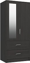 Ashdown 2 Door 2 Drawer Mirror Wardrobe - Dark Grey