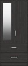 Ashdown 2 Door 2 Drawer Mirror Wardrobe - Dark Grey