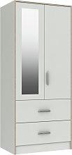 Ashdown 2 Door 2 Drawer Mirror Wardrobe - White