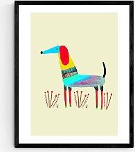 Ashley Percival - Dog & Flowers Wood Framed Print,