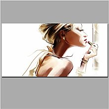ASLKUYT Colorful Makeup Sexy Girl Canvas Painting