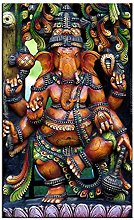 ASLKUYT Hindu God Gannesa Arts Print Oil Painting