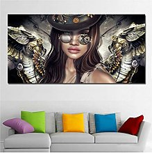 ASLKUYT Steampunk Angels Glasses Wall Art Canvas