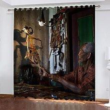 ASNIVI Blackout Curtains For Bedroom Art Shadow