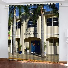 ASNIVI Blackout Curtains For Bedroom Coconut Tree