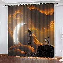 ASNIVI Blackout Curtains For Bedroom Moon Animal