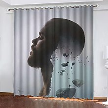 ASNIVI Blackout Curtains For Bedroom Music Male