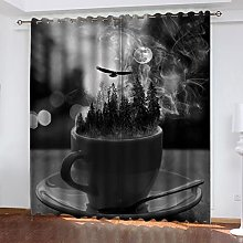 ASNIVI Blackout Curtains Moon Teacup Animal Eagle