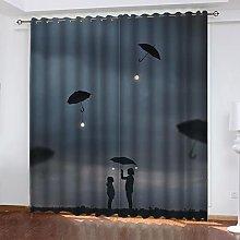 ASNIVI Blackout Curtains Umbrella Light Bulb Girl