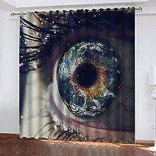 ASNIVI Printing Window Curtain Eyes Earth