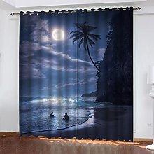 ASNIVI Printing Window Curtain Moon Beach