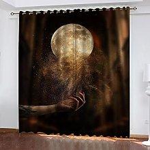 ASNIVI Printing Window Curtain Moon Sand Girl