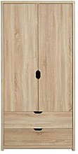 Aspen 2 Door, 2 Drawer Wardrobe, Oak