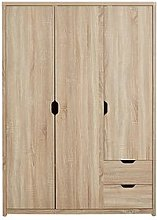 Aspen 3 Door, 2 Drawer Wardrobe, Oak
