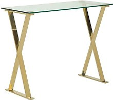 Aspire Glass Computer Desk In Clear With Gold