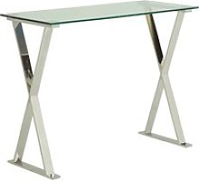 Aspire Glass Computer Desk In Clear With Stainless