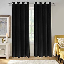 Aspire Homeware Black Crushed Velvet Curtains 90 x