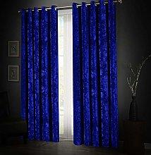 Aspire Homeware Soft Crushed Velvet Blue Curtains
