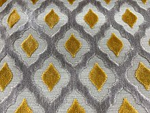 Assisi Ikat Cut Luxury Velvet Ochre 140cm/54""