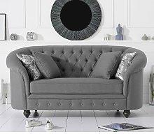 Astoria Chesterfield 2 Seater Sofa In Grey Linen