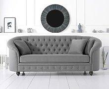 Astoria Chesterfield 3 Seater Sofa In Grey Linen