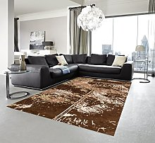 ASTRA Carpet, Polyester, Patchwork Brown, 140x200 cm