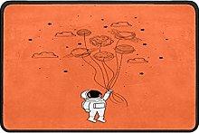 Astronaut Orange Doormat Rug Easy to Clean Non