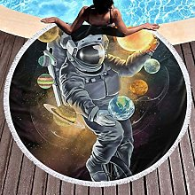 Astronaut Printed Round Beach Towel Yoga Picnic