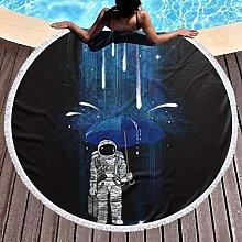 Astronaut With Umbrella Printed Round Beach Towel