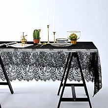 Asunflower Elegant Black Lace Tablecloth for