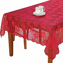 Asunflower Red Lace Tablecloth Flower Lace