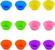 Asupermall - 12 Packs Silicone Baking Cups