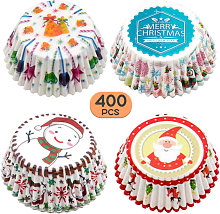 Asupermall - 400PCS Christmas Cupcake Wrappers