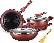 Asupermall - 6PCS Cookware Set Frying Pan Saucepan