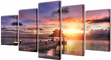 Asupermall - Canvas Wall Print Set Beach with