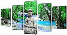 Asupermall - Canvas Wall Print Set Buddha 200 x