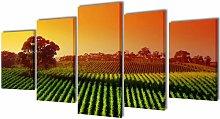 Asupermall - Canvas Wall Print Set Fields 200 x