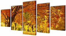 Asupermall - Canvas Wall Print Set Maple 200 x 100