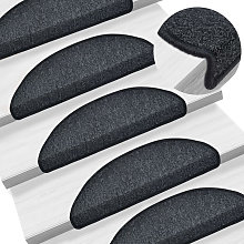Asupermall - Carpet Stair Treads 15 pcs Anthracite