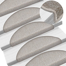 Asupermall - Carpet Stair Treads 15 pcs Taupe