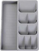 Asupermall - Expandable Cutlery Drawer Organizer Tray Large Capacity 9 Compartments Angled Design Multi-purpose,model:Grey