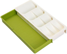 Asupermall - Expandable Cutlery Drawer Organizer Tray Large Capacity 9 Compartments Angled Design Multi-purpose,model:White