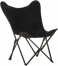 Asupermall - Foldable Butterfly Chair Black Real