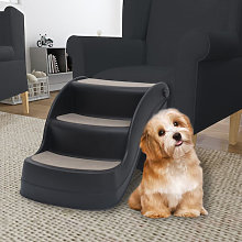 Asupermall - Folding 3-Step Dog Stairs Black