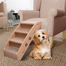 Asupermall - Folding Dog Stairs Brown 62x40x49.5 cm