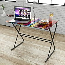 Asupermall - Glass Desk with Rainbow Pattern