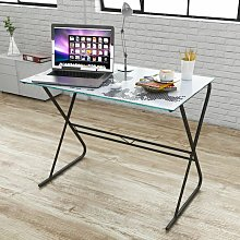 Asupermall - Glass Desk with World Map Pattern