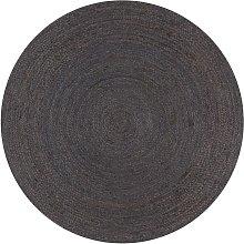 Asupermall - Handmade Rug Jute Round 150 cm Dark